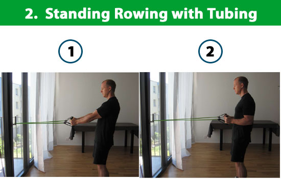 standing rowing with tubing